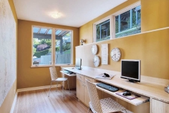 exciting-salmon-wall-paint-color-background-with-long-wooden-office-desk-plus-glass-awning-windows-also-white-ceiling-light